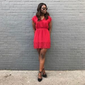 Red/crimson dress with scallop eyelet trim